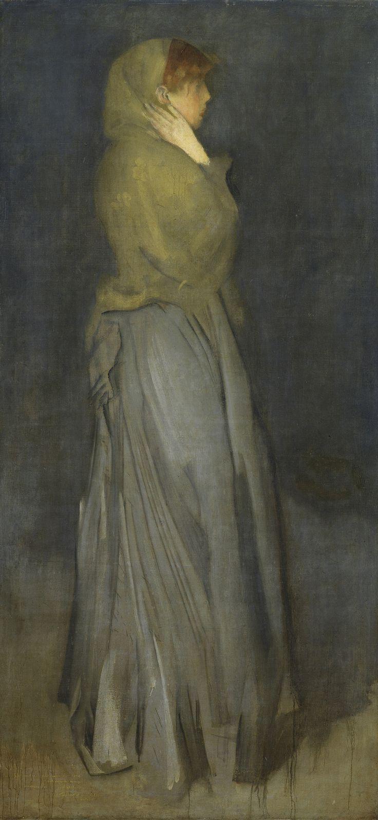 """Abbott Mc; Neill Whistler 'Arrangement in Yellow and Gray': Effie Deans Nederlands: Een staande jonge vrouw, ten voeten uit, in profiel naar rechts. Een van meerdere schilderijen van staande vrouwen met de titel """"Arrangement ..."""" uit de jaren 1874-77 waarvoor Maud Franklin, de maîtresse van de kunstenaar, heeft geposeerd. De bijtitel """"Effie Deans"""", die naar een van de hoofdpersonages in Walter Scott's roman """"The Heart of Midlothian"""" (1818) verwijst, werd in 1886 voor het eerst gebruikt…"""