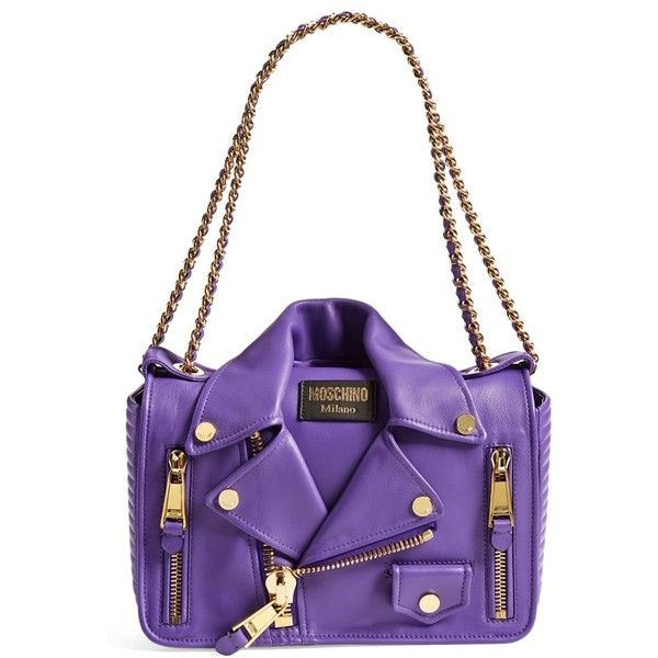 Moschino 'Biker Jacket' Shoulder Bag (137.530 RUB) ❤ liked on Polyvore featuring bags, handbags, shoulder bags, purple, leather crossbody, white leather handbags, leather purse, purple leather handbag and white crossbody handbags