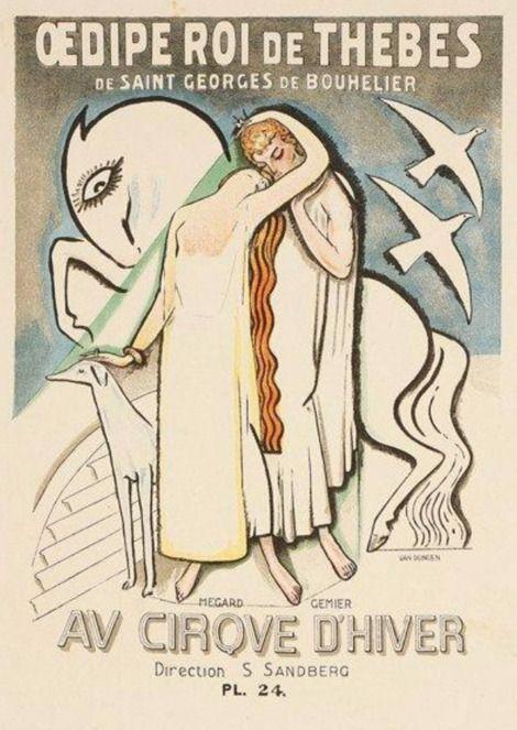 """Kees van Dongen, (1877-1968), ca. 1930, Theater Poster : """"Oedipe roi de Thèbes"""" by saint Georges de Bouhelier, Cirque d'Hiver. on…"""