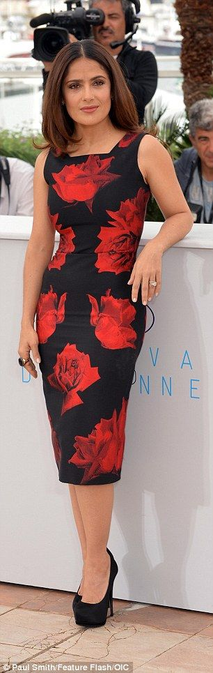 Salma looking  sensational in the AW15 red rose silk jacquard pencil dress by Alexander McQueen. Cannes #2015