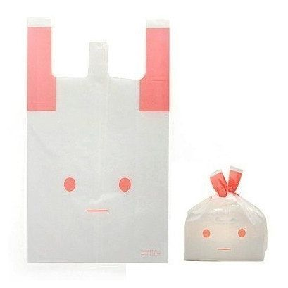 Pink Rabbit Plastic Bag set