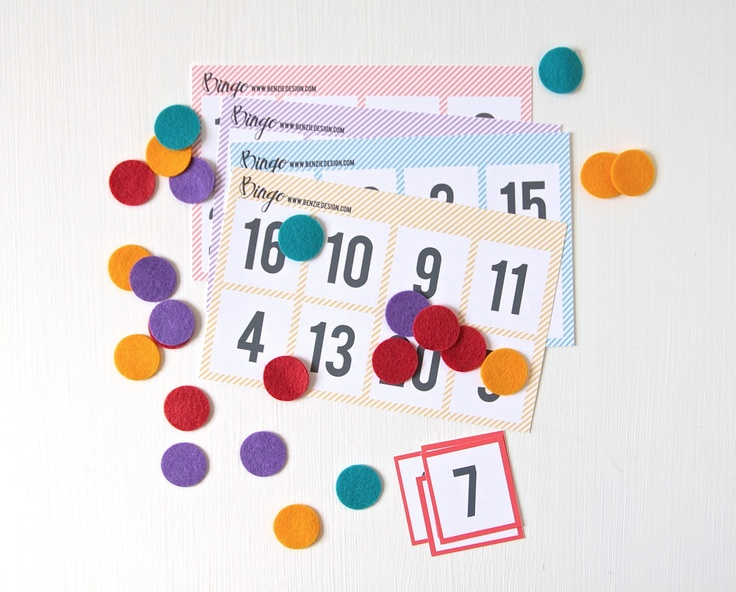 Printable Bingo Game, shown with Benzie Design's felt confetti!