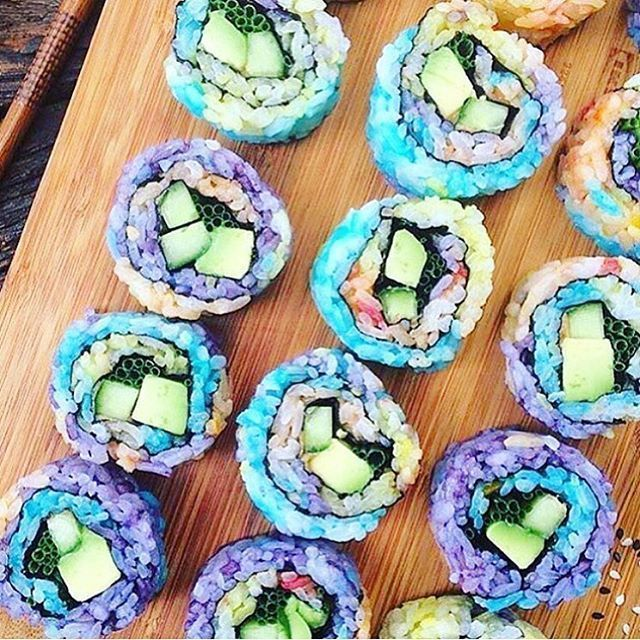 Pin for Later: Rainbow Sushi Is For Unicorns and Mermaids Only You don't have to follow ROYGBIV to create the whole rainbow. Use whatever colors you love.