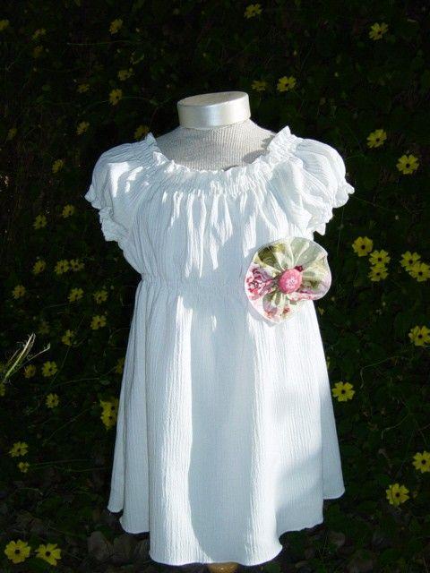 Flower girl dress...white peasant dress... Sizes 5 thru 8 Child. $48.00, via Etsy.