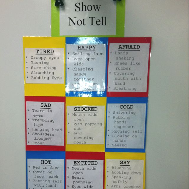 """Show, Not Tell"" poster for revising writing and adding more detail/descriptive language."
