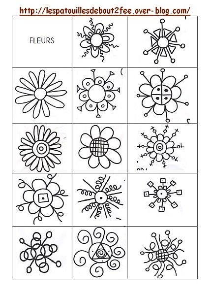 modeles-de-fleurs.jpg.  Flower zentangle doodles.
