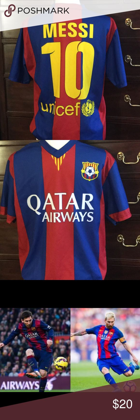 Messi team Barcelona Soccer (football) Jersey NWOT Perfect for your soccer fan - Lionel Messi team Barcelona jersey!  Never worn. Shirts Tees - Short Sleeve