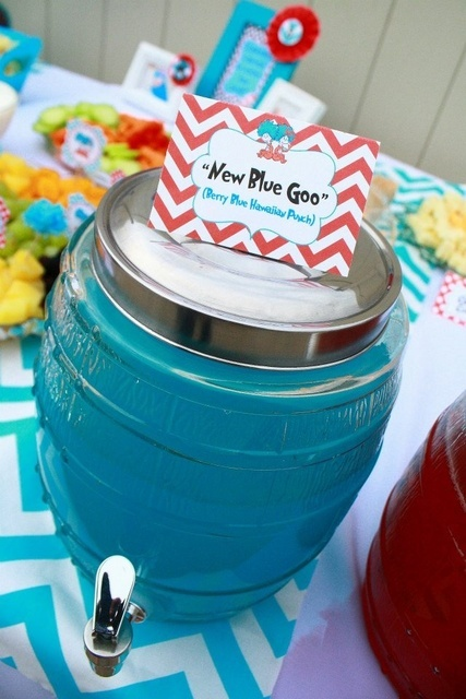 Dr. Seuss Thing 1 and Thing 2 1st Birthday Party for Twins - Twin - Red and Aqua Blue - Chevron & Polka Dots - food and drink cards and labels - labelling and topper ideas
