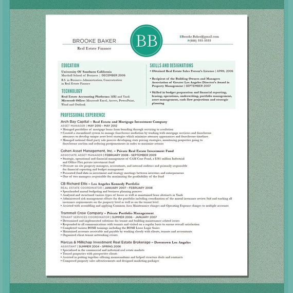 Resume Sample The Boston by LUZarteGraphicDesign on Etsy, $40.00