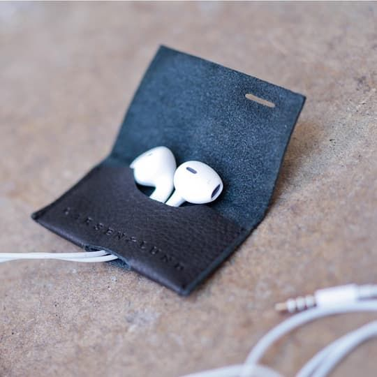 Earbud Case - Black leather by Larsen & Lund   Spring - Free Shipping. On Everything