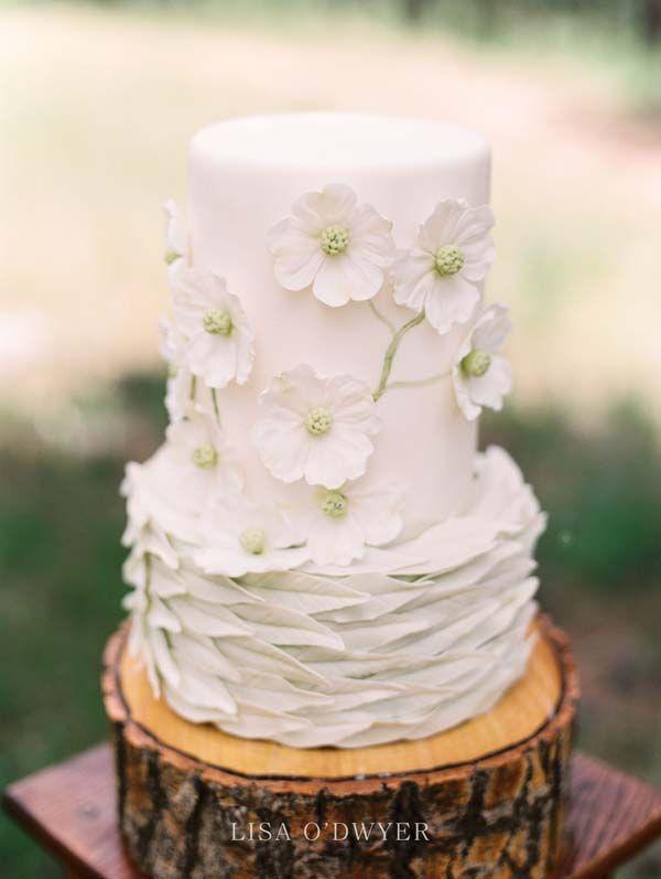 Beautiful Woodland Themed White Wedding Cake