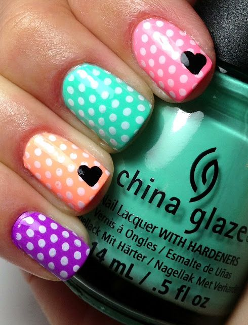 Nails. Fashion. Nail Art. Nail Polish. Style. Nail Design. Manicure. Style. Colors. Pink, green, purple, peach, China Glaze, Heart. Valentine's Day Nail Art.