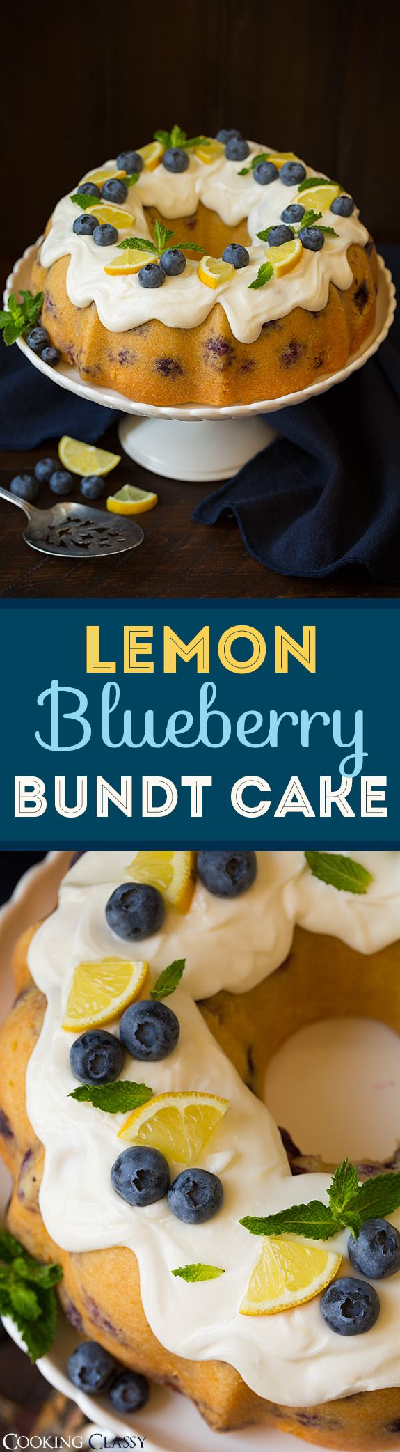 Lemon Blueberry Bundt Cake with Lemon Cream Cheese Icing - this cake is unbelievably good!! So vibrant and lemony and perfectly paired with sweet blueberries! A dreamy summer cake!