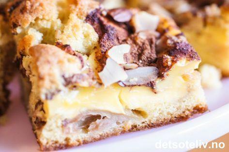 Eplekake i langpanne med vaniljekrem | Det søte liv Verdens beste!