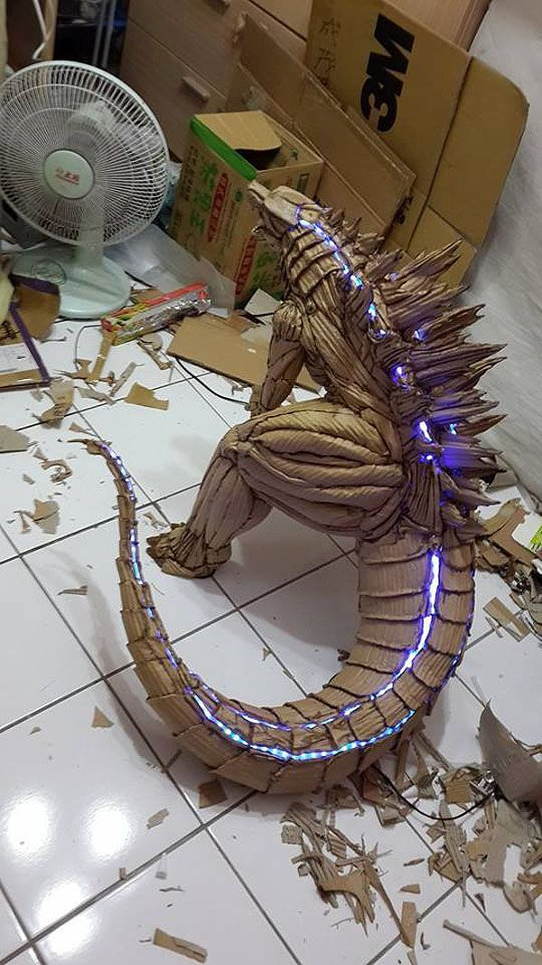 Cardboard Godzilla by Kai-Xiang Xhong This is cool as hell!!!