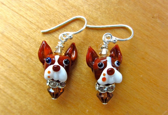 Custom Brown Boston Terrier Earrings For Beth by SUZOOM on Etsy, 38.00