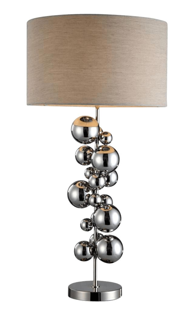 The Nickel Ball Tower Lamp by RV Astley boasts a frame finish in chrome/nickel, with a beige light shade. Part of the Ball Tower range, this beautiful floor lamp is the perfect compliment to a minimalist living room.