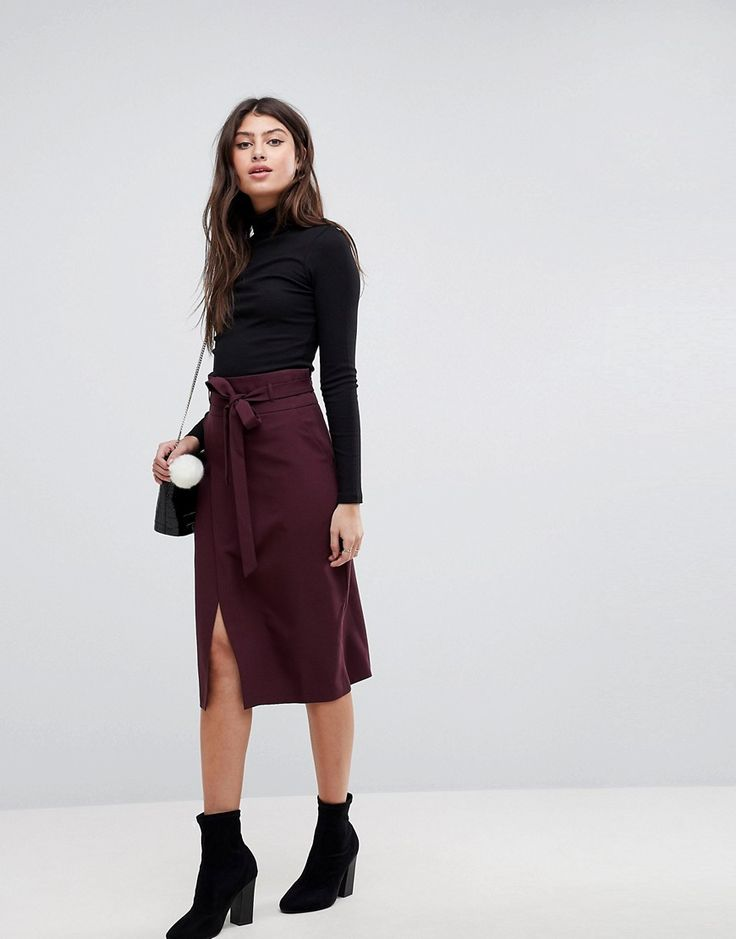 ASOS Tailored Pencil Skirt With Obi Tie - Red