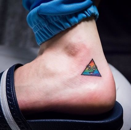 Katy Perry Gets Rainbow Triangle Tattoo to Mark Prismatic World Tour http://www.popstartats.com/katy-perry-tattoos/ankle-rainbow-triangle/