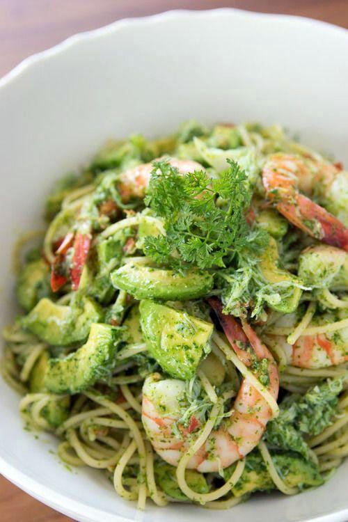 Amazing Avocado & Shrimp Pesto Pasta ~=~ Our Favorites All-In-One, BRAVO !!