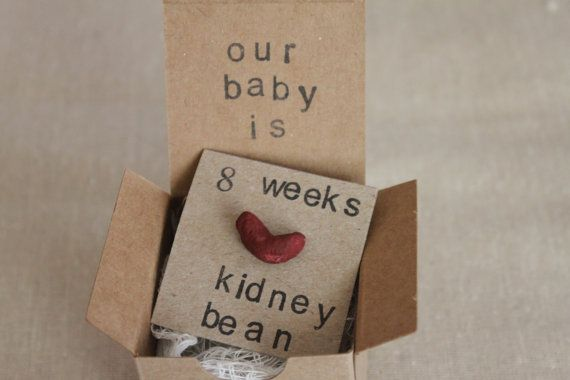 Set of 6, 8 week Pregnancy Announcements, How Big Is My Baby, Gender Reveals, Baby Size