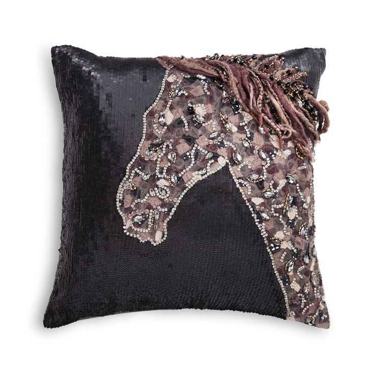 Horse | Decorative Cushion | Fabric patchwork and hand-embroideries with wool, sequins and precious stones create this majestic steed on silk taffeta. Impeccably- crafted and elegant in any room.