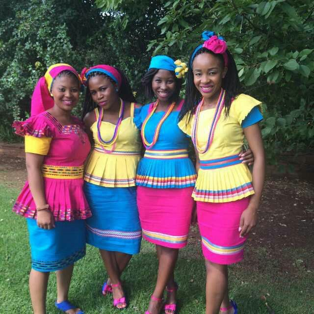 My gals Rocking Modern Sepedi Attire...