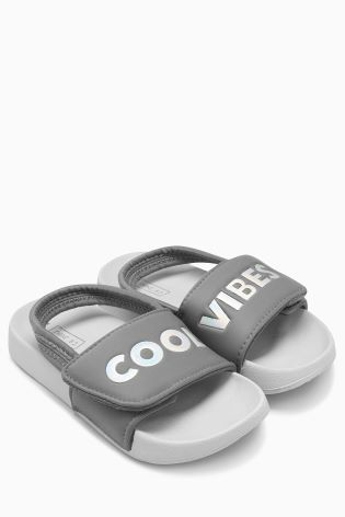 e24dad4ec47c Grey Slogan Pool Sliders (Younger)