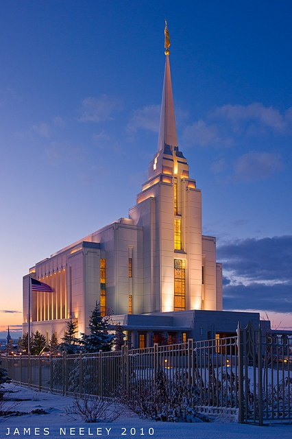 "Right Ascension  The LDS Temple in Rexburg, Idaho at the ""Blue Hour"" by James Neeley"