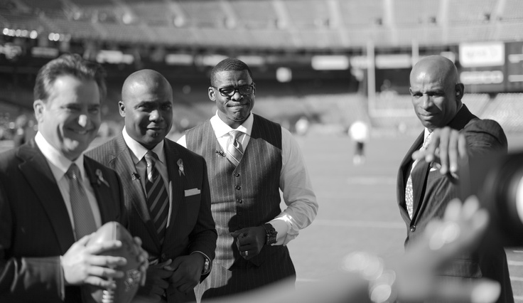 NFL Network analysts Steve Mariucci, Marshall Faulk, Michael Irvin and Deion Sanders look on prior to a game between the Seattle Seahawks and San Francisco 49ers