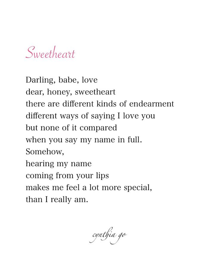 Sweetheart - poetry, love, love poem, quotes, love quotes, name,