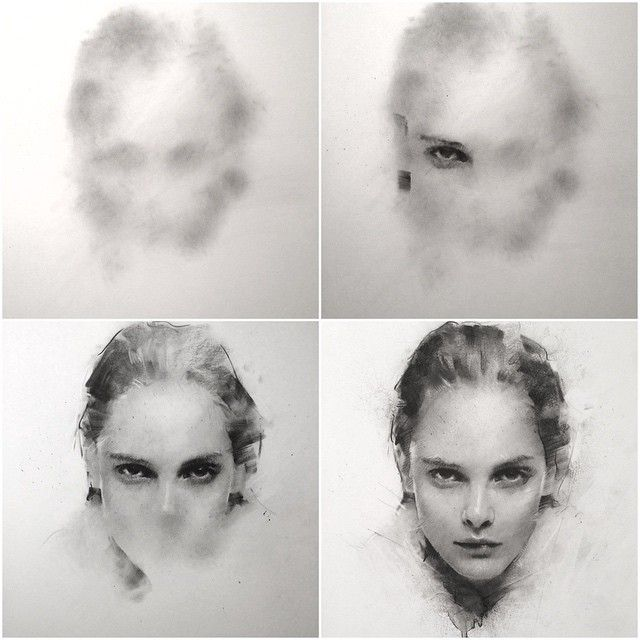 Instagram media by caseybaugh - Progress shots of recent charcoal sketch ➰ #art #caseybaugh #charcoal ( model - @julesfairytales )
