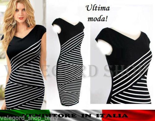 Abito-tubino-vintage-50-bianco-nero-zig-zag-incrociato-strisce-elegante-vestito