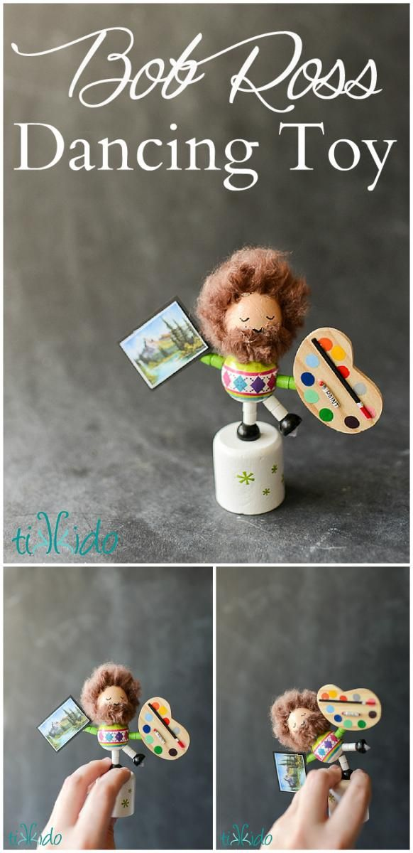 Tutorial for making a Bob Ross miniature collapsing/dancing wooden toy.