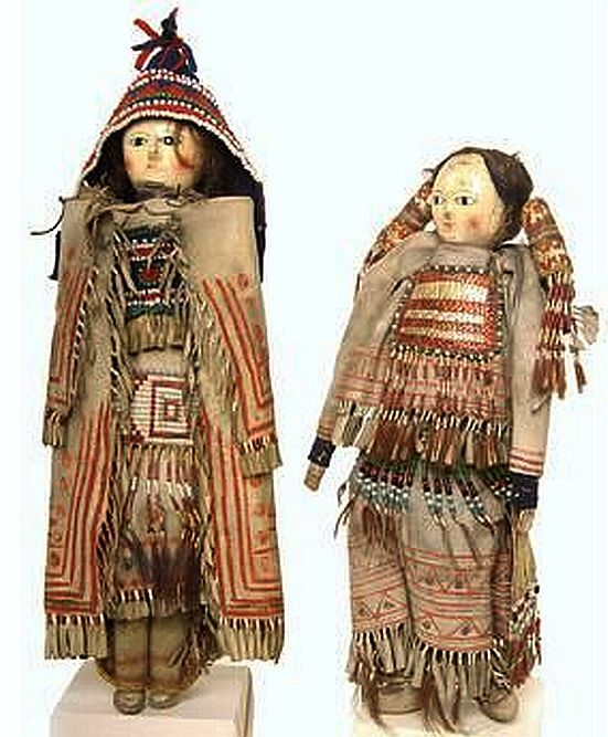 Cree indian dolls. given european wooden penny dolls in trade, these were dressed in traditional clothes.jpg