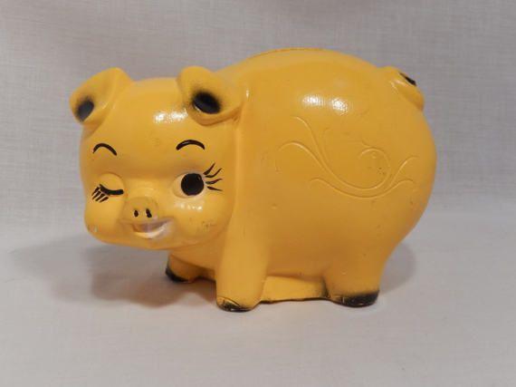 Chalkware Piggy Bank Yellow Mid-Century Retro by RascalsRarities