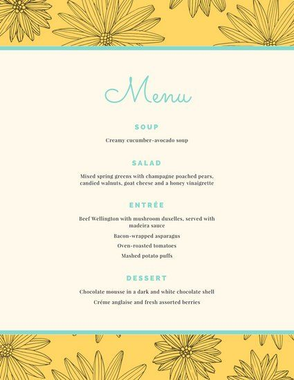 Dinner Party Menu Templates Your dinner party wont be complete