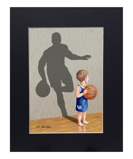 Artist Diedre Douglass captures the spirit of aspiring athletes in this matted print. It's fit for little ones who dream of dunking at their future alma mater.