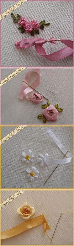 МИНИ-МАСТЕР КЛАССЫ - 2 цветы из лент пошагово несложно красиво