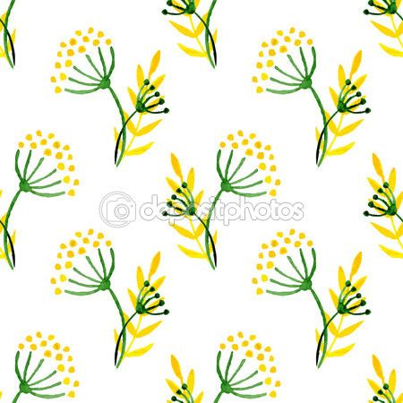 Watercolor simple herbal seamless pattern. Background with corolla flower dill. Vector hand paint illustration for wrapping, textile, package design. — Stock Illustration #73546505