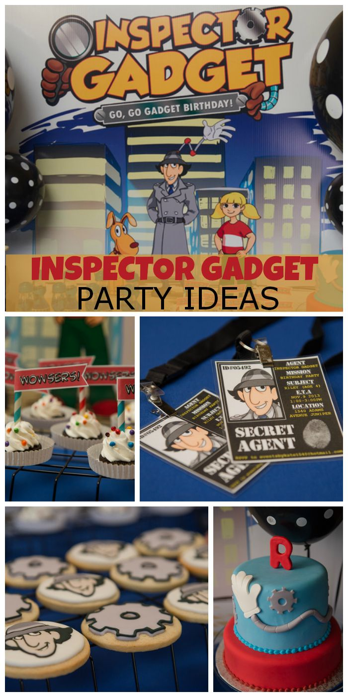 What a cool Inspector Gadget birthday party with fun spy and secret agent details!  See more party ideas at CatchMyParty.com!
