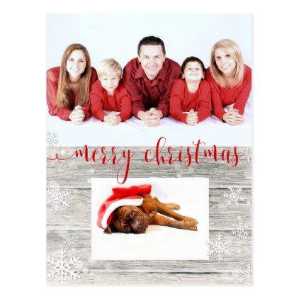 Rustic Wood Merry Christmas Photo - Postcard - christmas cards merry xmas family party holidays cyo diy greeting card