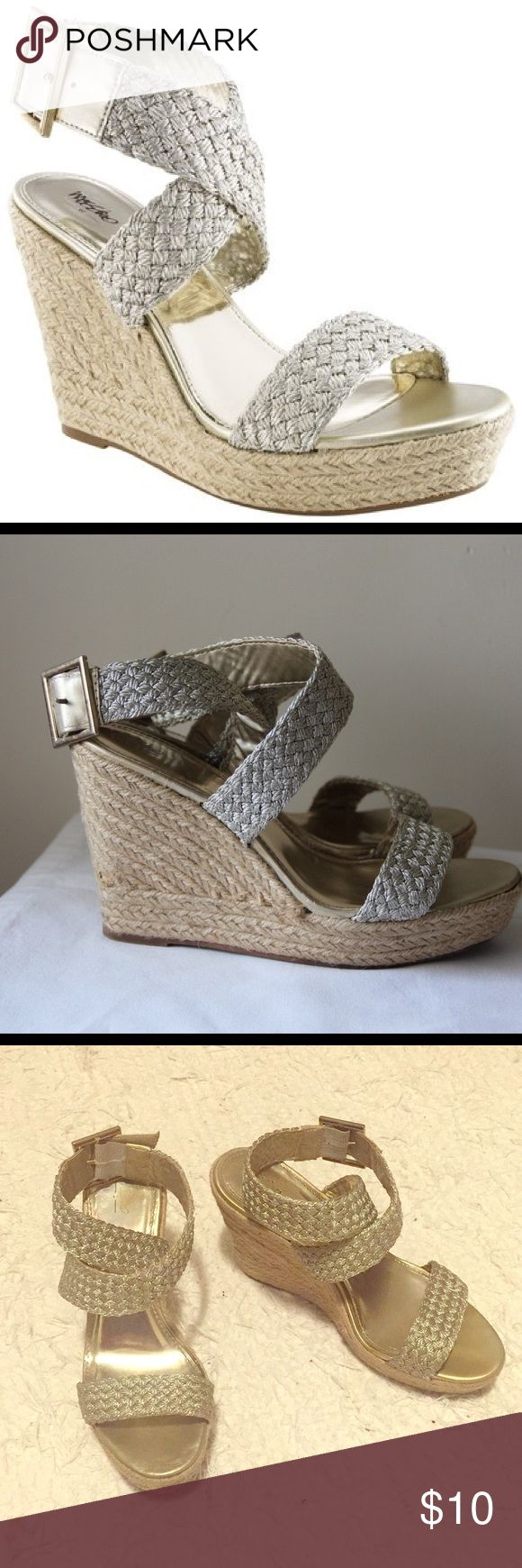 Gold Espadrilles Wedges Gold espadrilles wedges in great condition! Super comfortable and worn only 3 times. They're a 7.5 but would fit a 7 too, as the strap is adjustable. Mossimo Supply Co Shoes Espadrilles