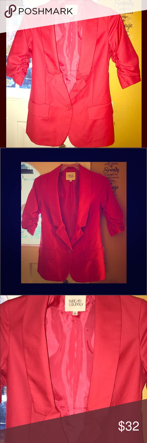 NWT THREAD & SUPPLY-Sexy Hot Pink Blazer! 😍💖🔥💋 NWT THREAD & SUPPLY-Sexy Hot Pink Blazer! 😍💖🔥💋 Brand new! Never Worn! Gorgeous color and detail! Ruffled sleeves! Absolutely stunning! No tears, pulls, stains or odors! Smoke/Pet Free Home!! Bundle & Save!! Thread & Supply Jackets & Coats Blazers
