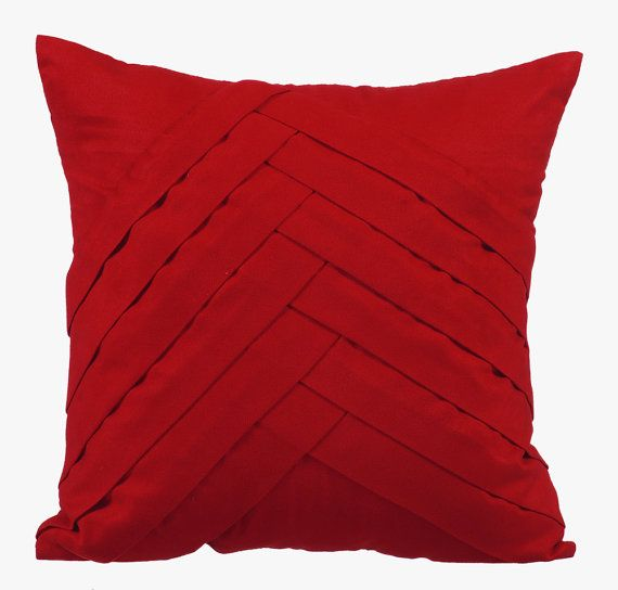 Red Pillow Cases 16x16 Couch Pillows Embroidered Suede Pillow