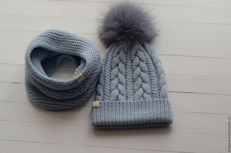 """Купить Детская шапка вязаная шапка и снуд , комплект """"Голубой """" - голубой, шапка и снуд"""