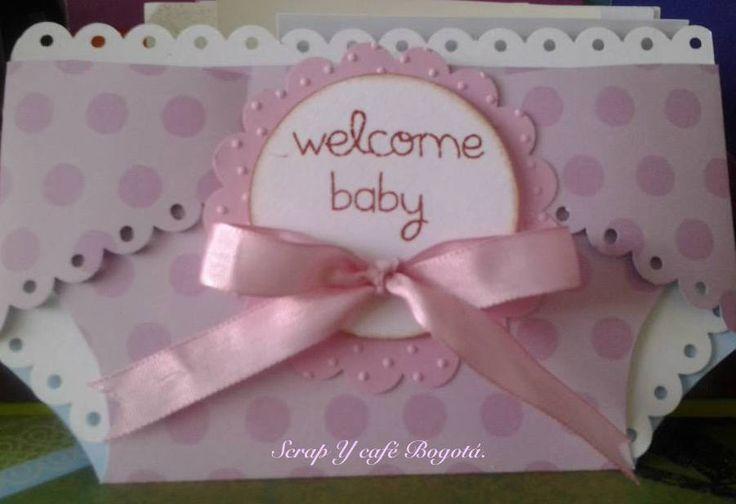Tarjeta Baby Shower diseñoPañal. #Scrap #ScrapYcafe #BabyShower #Nice Sigue nuestro canal de Youtube y entérate de más técnicas. www.youtube.com/...