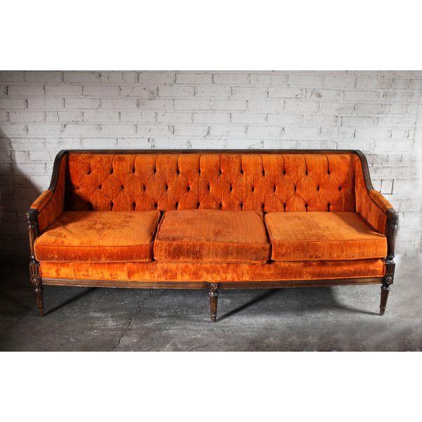 Fall Vintage Orange Velvet Tufted Sofa Couch SALE** (145 BRL) ❤ Liked