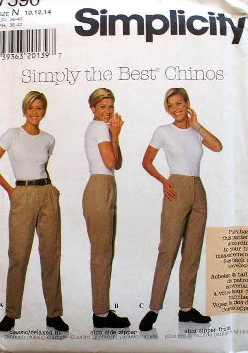 Simplicity 7590, Women's Pants pattern, Women's Trouser, Straight Leg pant, Pleated front pants, Simply the best Chinos #SewingPattern #StraightLegPant #MoondancerCrafts #Simplicity #SimplyTheBest #7590 #Simplicity7590 #WomensTrouser #PleatedFrontPants #SewingInstructions
