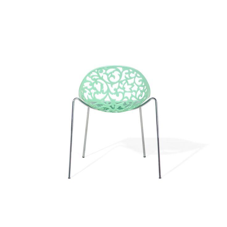 Beliani Mumford Green Chrome Metal Dining Chair (Plastic)